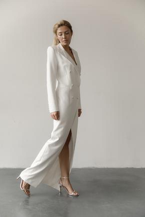 Довге вечірнє плаття-фрак білого кольору в прокат и аренду в Киеве. Фото 1