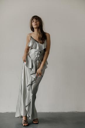 Сукня комбінація срібного кольору з оборками в підлогу в прокат и oренду в Киiвi. Фото 1