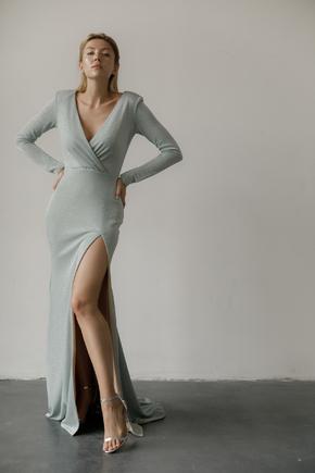 Блакитна вечірня сукня в підлогу з глибоким декольте і шлейфом в прокат и oренду в Киiвi. Фото 2