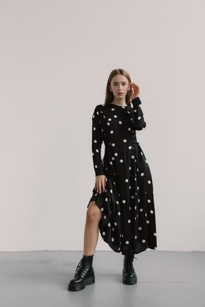 Чорна сукня в горох з довгим рукавом в прокат и oренду в Киiвi. Фото 1