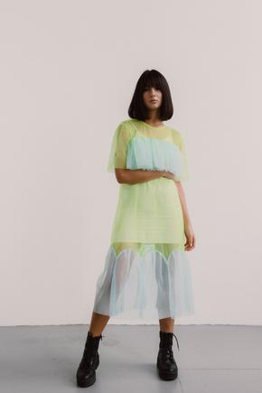 Напівпрозоре плаття лаймового кольору з блакитними вставками в прокат и oренду в Киiвi. Фото 1