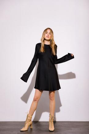 Коротке чорне шовкове плаття з довгим рукавом в прокат и oренду в Киiвi. Фото 2