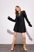 Короткое черное шелковое платье с длинным рукавом в прокат и аренду в Киеве. Фото 1