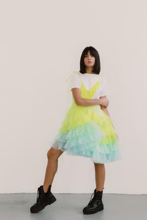 Багатошарове плаття міні лаймово-блакитного кольору в прокат и oренду в Киiвi. Фото 2