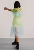 Полупрозрачное платье лаймового цвета с голубыми вставками в прокат и аренду в Киеве. Фото 3