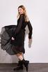 Шелковое платье миди черного цвета с расклешенной юбкой в прокат и аренду в Киеве. Фото 1