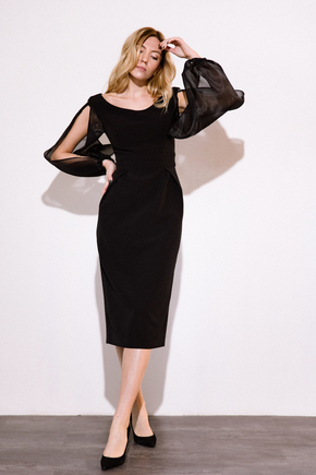 Чорна сукня футляр довжини міді з рукавами з органзи в прокат и oренду в Киiвi. Фото 2