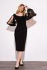 Черное платье футляр длины миди с рукавами из органзы в прокат и аренду в Киеве. Фото 2