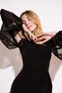 Черное платье футляр длины миди с рукавами из органзы в прокат и аренду в Киеве. Фото 3