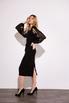 Черное платье футляр длины миди с рукавами из органзы в прокат и аренду в Киеве. Фото 4