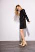 Платье мини свободного кроя с длинным рукавом в черную матовую пайетку в прокат и аренду в Киеве. Фото 1