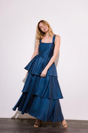 Довга сукня з відкритою спиною з оборками синього кольору в прокат и oренду в Киiвi. Фото 2