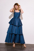 Длинное платье с открытой спиной с оборками синего цвета в прокат и аренду в Киеве. Фото 4