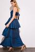 Длинное платье с открытой спиной с оборками синего цвета в прокат и аренду в Киеве. Фото 5