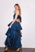 Длинное платье с открытой спиной с оборками синего цвета в прокат и аренду в Киеве. Фото 1
