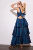 Длинное платье с открытой спиной с оборками синего цвета в прокат и аренду в Киеве. Фото 6