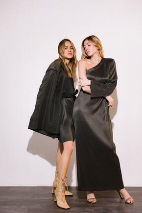Сукня плісе на одне плече графітового кольору в прокат и oренду в Киiвi. Фото 1