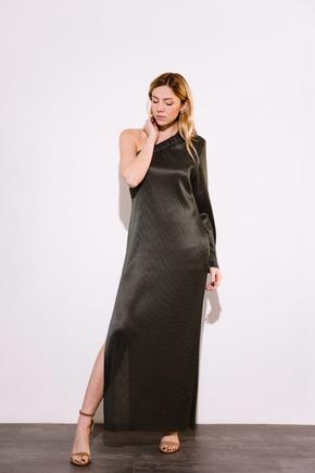 Сукня плісе на одне плече графітового кольору в прокат и oренду в Киiвi. Фото 2