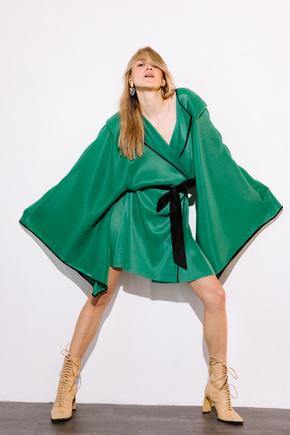 Платье-кимоно плиссе зеленого цвета в прокат и аренду в Киеве. Фото 2