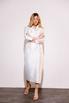 Платье футляр длины миди на запах жемчужного цвета с принтованой подкладкой в прокат и аренду в Киеве. Фото 2