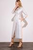 Платье футляр длины миди на запах жемчужного цвета с принтованой подкладкой в прокат и аренду в Киеве. Фото 4