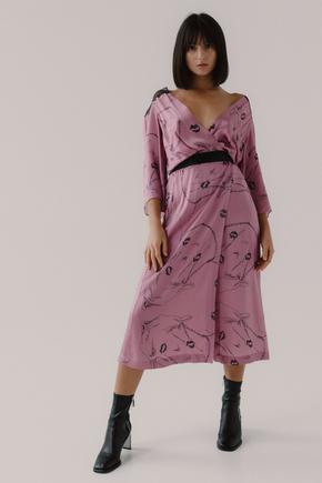 Рожеве шовкове плаття на запах з принтом в прокат и oренду в Киiвi. Фото 1