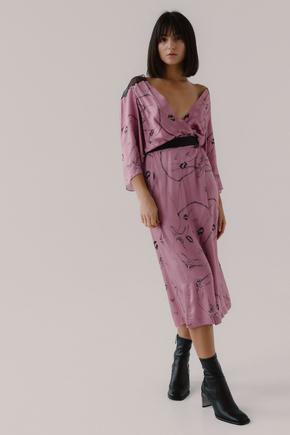 Рожеве шовкове плаття на запах з принтом в прокат и oренду в Киiвi. Фото 2