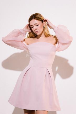 Плаття-бюст'є міні з рукавами з органзи рожевого кольору в прокат и аренду в Киеве. Фото 1