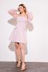 Платье-бюстье мини с рукавами из органзы розового цвета в прокат и аренду в Киеве. Фото 3