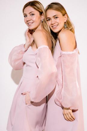 Платье мини пудрового цвета с рукавами из органзы в прокат и аренду в Киеве. Фото 1