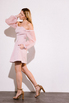 Платье-бюстье мини с рукавами из органзы розового цвета в прокат и аренду в Киеве. Фото 4