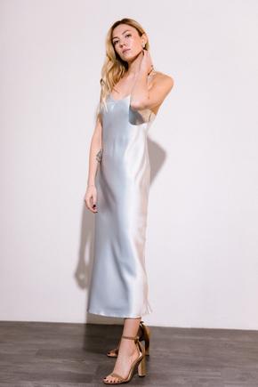 Серебряное платье комбинация длины миди из плотного шелка в прокат и аренду в Киеве. Фото 2