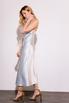 Серебряное платье комбинация длины миди из плотного шелка в прокат и аренду в Киеве. Фото 3