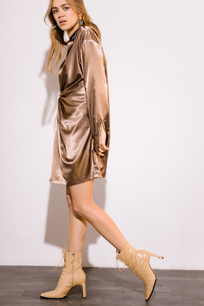 Кавове шовкове плаття міні з довгим рукавом і глибоким декольте в прокат и аренду в Киеве. Фото 2