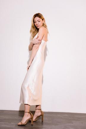 Кремовое платье комбинация длины миди из плотного шелка в прокат и аренду в Киеве. Фото 2