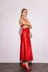 Красное платье комбинация длины миди из плотного шелка в прокат и аренду в Киеве. Фото 3