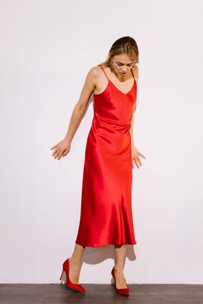 Красное платье комбинация длины миди из плотного шелка в прокат и аренду в Киеве. Фото 2