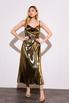 Бронзовое платье комбинация длины миди из плотного шелка в прокат и аренду в Киеве. Фото 1