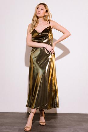 Бронзовая плаття комбінація довжини міді з щільного шовку в прокат и oренду в Киiвi. Фото 2
