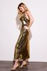 Бронзовое платье комбинация длины миди из плотного шелка в прокат и аренду в Киеве. Фото 3