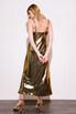 Бронзовое платье комбинация длины миди из плотного шелка в прокат и аренду в Киеве. Фото 6