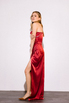 Шелковое платье-бюстье длины миди бордового цвета в прокат и аренду в Киеве. Фото 4