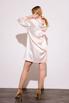 Персиковое шелковое платье мини с длинным рукавом и глубоким декольте в прокат и аренду в Киеве. Фото 6