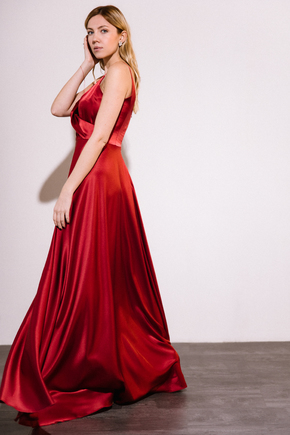 Шовкова сукня довжини максі бордового кольору в прокат и oренду в Киiвi. Фото 2
