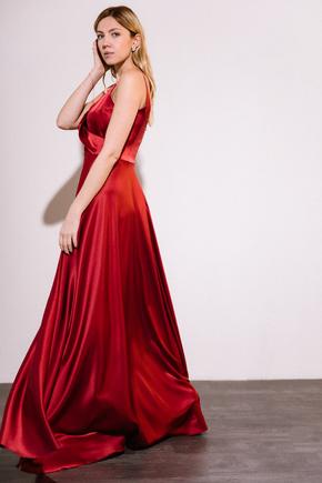 Шелковое платье длины макси бордового цвета в прокат и аренду в Киеве. Фото 2