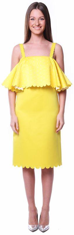 Желтое коктейльное платье с воланом