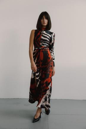 Асиметричне плаття  з шовку з леопардовим принтом в прокат и oренду в Киiвi. Фото 2