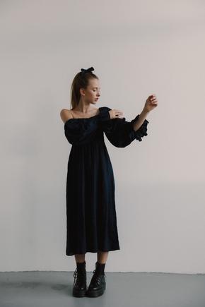 Синє плаття з льону з рукавом буф і драпіровками в прокат и oренду в Киiвi. Фото 1