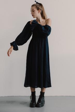 Синє плаття з льону з рукавом буф і драпіровками в прокат и oренду в Киiвi. Фото 2