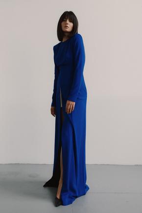 Яскраво-синє плаття в підлогу з довгим рукавом в прокат и oренду в Киiвi. Фото 2